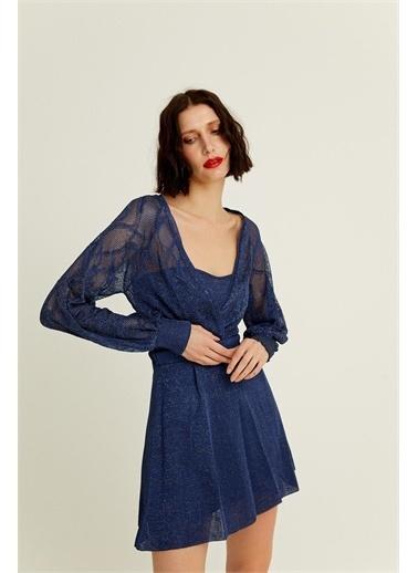 Rue Lacivert Parıltılı Kruvaze Triko Mini Elbise Lacivert